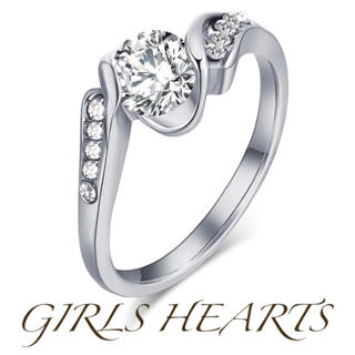 送料無料9号クロムシルバースーパーCZダイヤモンドデザイナーズシルバーリング指輪(リング(指輪))
