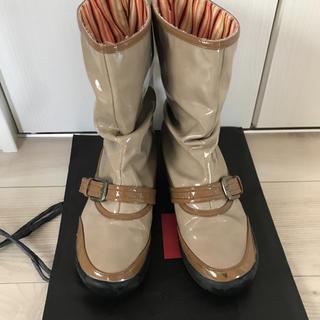 レインブーツ キャメル ストライプ ブラウン(レインブーツ/長靴)