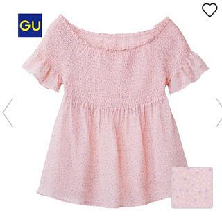 ジーユー(GU)の新品 タグ付き GU オフショルダーブラウス レディース ピンク S(シャツ/ブラウス(半袖/袖なし))
