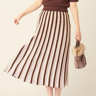 ナチュラルクチュール(natural couture)の配色プリーツ風ニットスカート ブラウン(ロングスカート)