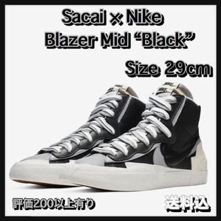 """ナイキ(NIKE)の【29】SACAI x NIKE BLAZER MID """"BLACK""""(スニーカー)"""