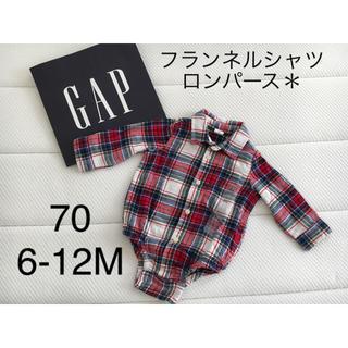 babyGAP - 新品▪️babygap  フランネルシャツ ロンパース♡70 赤チェック