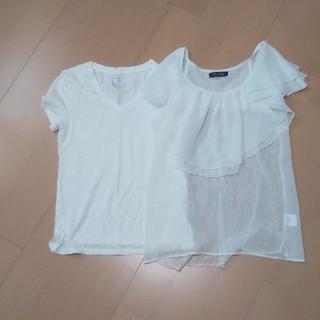ジーユー(GU)の二枚セット GU ワンウェイ トップス シフォン Tシャツ(シャツ/ブラウス(半袖/袖なし))