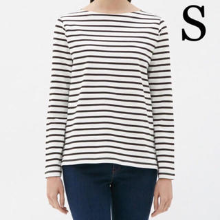 ジーユー(GU)のジーユー ボーダーボートネックTシャツ オフホワイト S(Tシャツ(長袖/七分))