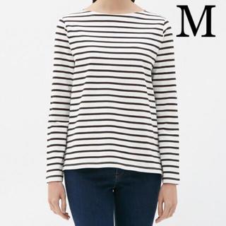 ジーユー(GU)のジーユー ボーダーボートネックTシャツ オフホワイト M(Tシャツ(長袖/七分))