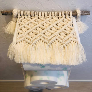 マクラメ編み トイレットペーパーカバー&ホルダー NO.35
