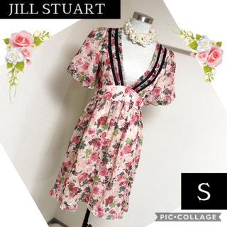 ジルスチュアート(JILLSTUART)のジルスチュアートのVネック花柄ふんわりワンピース(S)(ひざ丈ワンピース)