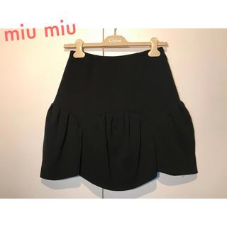 ミュウミュウ(miumiu)のmiu miu ミュウミュウ 秋冬 スカラップ スカート ブラック(ひざ丈スカート)