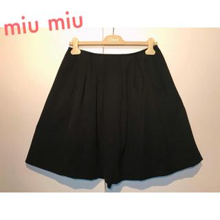 ミュウミュウ(miumiu)のmiu miu ミュウミュウ 秋冬 ウール プリーツ スカート ブラック(ひざ丈スカート)
