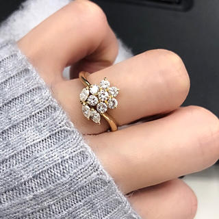 ❤️送料込☆新品同様高品質0.76ctダイヤモンドフラワーk18リング