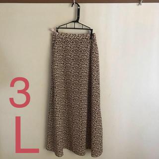 ジーユー(GU)のフラワープリントロングスカート / ブラウン / XXLサイズ / 新品 未使用(ロングスカート)