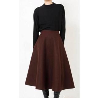 ルシェルブルー(LE CIEL BLEU)のルシェルブルー   36  メルトン スカート ブラウン 美品(ひざ丈スカート)