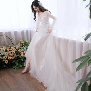 ウェディングドレス Aラインドレス 長袖 挙式 花嫁 ウエデイング ロングドレス(ウェディングドレス)