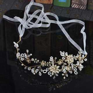 ウエディング お花と2本枝 パール ヘッドドレス ゴールド ボンネ ティアラ(その他)