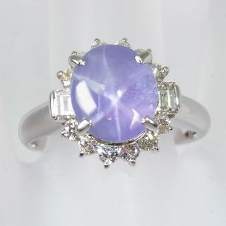 Pt900 スターサファイア ダイヤモンド リング 12.5号 [f71-3](リング(指輪))