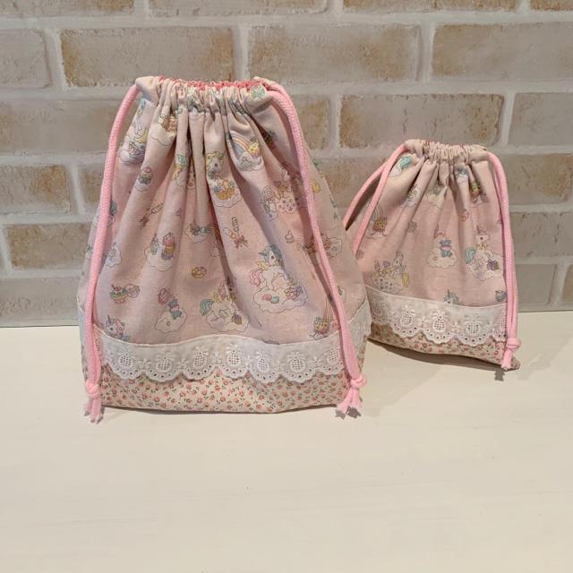 ランチセット ユニコーン キッズ/ベビー/マタニティのこども用バッグ(ランチボックス巾着)の商品写真