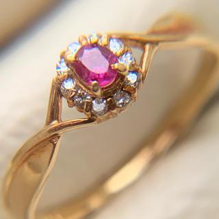 k18  ダイヤモンド 取り巻き ルビーリング #10(リング(指輪))