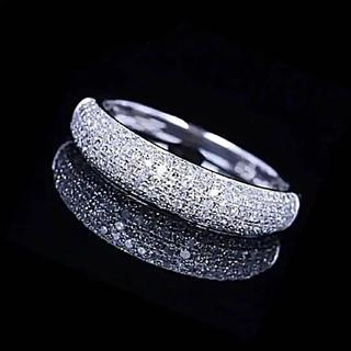 【11号•1点限り】AAA級CZメレダイヤ パヴェ 程よい幅プラチナカラーリング(リング(指輪))