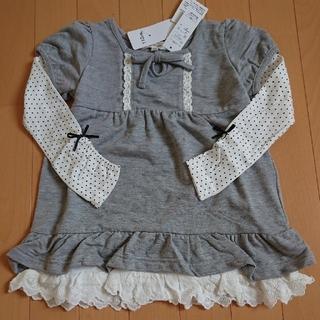 110  女子  重ね着風  チュニック ワンピース  長袖水玉(ワンピース)
