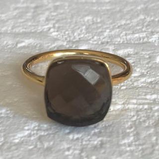 スモーキークオーツ  クッションヌードリング8号22kゴールドプレーテッド(リング(指輪))