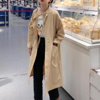 ロングコート オープンコート トレンチ アウター ベージュ ノーカラー 羽織り(ロングコート)