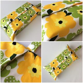 黄色黄緑水玉フラワー ボックスティッシュカバー