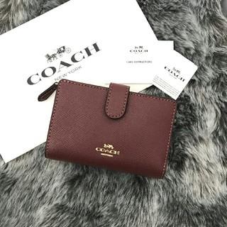 COACH - 新品☆COACH(コーチ)レッド ワイン レザー  折り財布