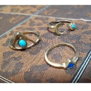 【未使用】リング 指輪 3点セット ゴールド ブルー(リング(指輪))