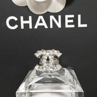 シャネル(CHANEL)の正規品 シャネル 指輪 シルバー ココマーク 角ストーン ロゴ 銀 リング 石(リング(指輪))