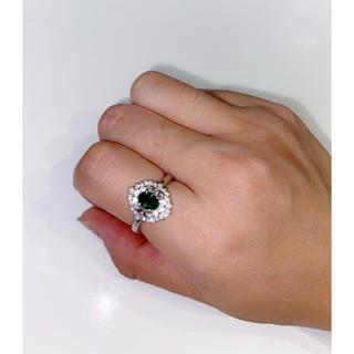 ☆美品☆ Pt900グロッシュラーサイトガーネット&ダイヤリング(リング(指輪))