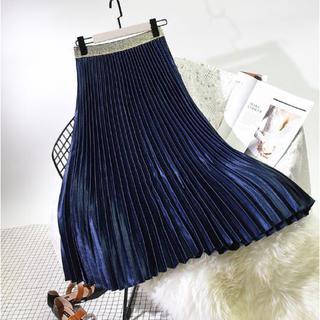 【新品】プリーツスカート 厚手 サテン ブルー フリーサイズ(ロングスカート)