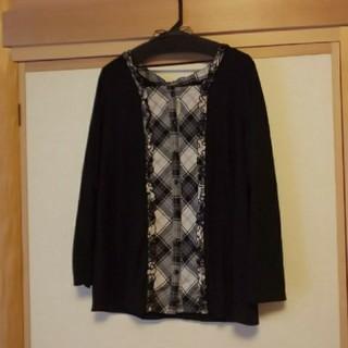 クインティ(QUINTY)の大きいサイズブランド  セピア 長袖 前開き クインティ好きな方にも(Tシャツ/カットソー(七分/長袖))