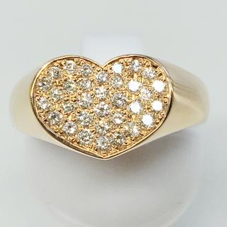 K18PG ピンクゴールド ダイヤモンド ハート リング 指輪 お洒落 贈り物(リング(指輪))