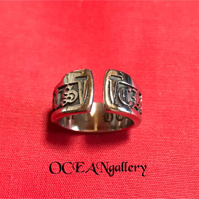 送料無料 25号 シルバー サージカルステンレス スクロール ラベル リング指輪 メンズのアクセサリー(リング(指輪))の商品写真
