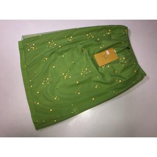Sybilla - 544シビラ ホコモモラ イトキン◆スカート 刺繍 黄緑系 Mサイズ二重スカート