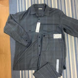 GU - グレンチェック オープンカラーシャツ アンクルパンツ セットアップ
