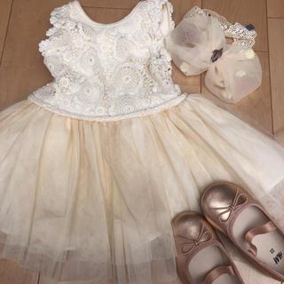プティマイン(petit main)のベビードレス ベージュ レース 結婚式(ドレス/フォーマル)