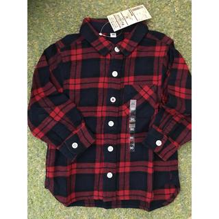 ムジルシリョウヒン(MUJI (無印良品))の無印良品 新品 オーガニックコットン フランネル チェックシャツ 90(ブラウス)