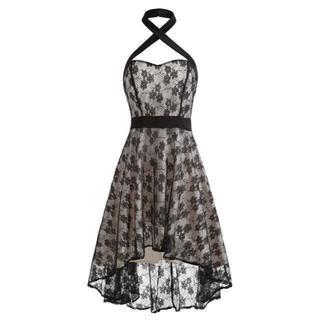 新品大きいサイズLL~3Lゴシックヴィンテージレースホルターネックパーティドレス(ミディアムドレス)