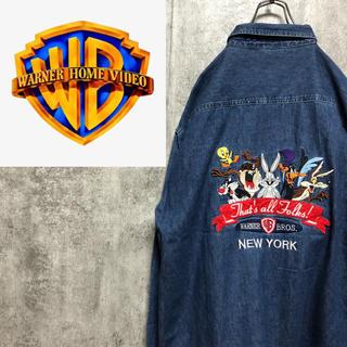 【激レア】ワーナーブラザーズ☆ルーニーテューンズ刺繍ビッグロゴデニムシャツ