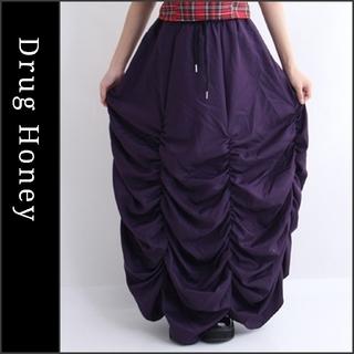 ファンキーフルーツ(FUNKY FRUIT)の【DrugHoney】ギャザーロングスカート パープル ドラッグハニー(ロングスカート)