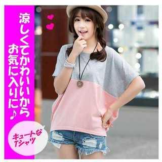 Tシャツ L グレー ピンク 優しい バイカラー カットソ− ドルマン(Tシャツ(半袖/袖なし))