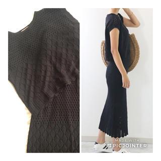 透かし編みニット セットアップ(ロングスカート)