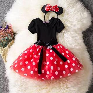 【ラスト1点】ミニー コスプレ ワンピース ドレス コスチューム 110cm(ワンピース)
