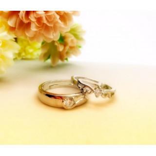 ☆即日発送☆2個セット☆シルバー925☆天使指輪☆ペアリング フリーサイズK(リング(指輪))