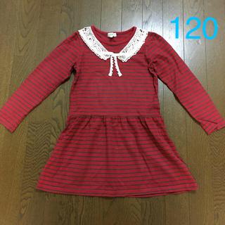 サンカンシオン(3can4on)の赤ボーダーワンピース120(ワンピース)