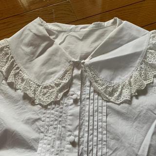 merlot - merlot 白 丸襟 シャツ