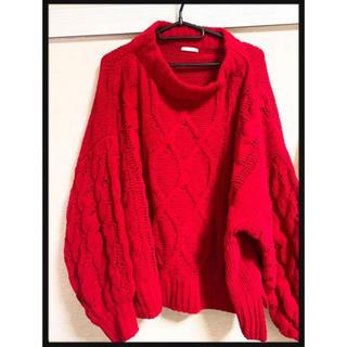 ニット セーター 赤 レッド 温かい レディース 大きいサイズ XL(ニット/セーター)