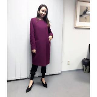 UNITED ARROWS - web a la moda マゼンダ パープル 紫 ノーカラーコート 矢田亜希子
