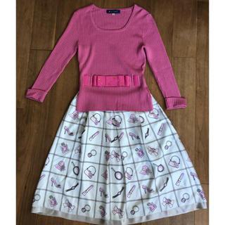 エムズグレイシー(M'S GRACY)のエムズグレーシー ピンクリボンセーター40&クローゼット柄スカート40 美品(セット/コーデ)